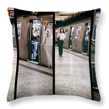 Throw Pillow featuring the photograph New York City Subway Stare by Lars Lentz