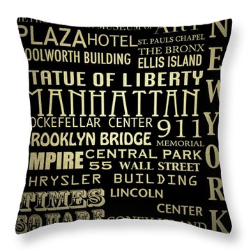 New York Famous Landmarks Silver Throw Pillow