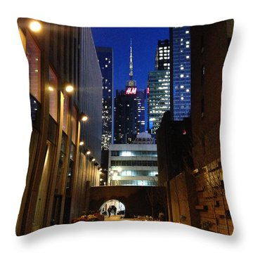 New York Night Throw Pillow by Helen Haw