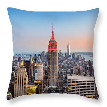 New York Skyline Panorama Throw Pillow by Mihai Andritoiu