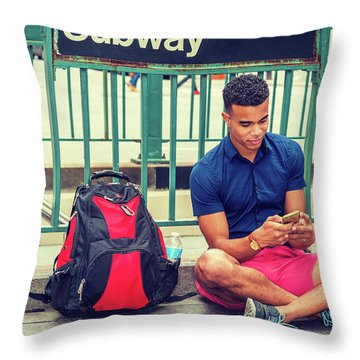 New York Subway Station Throw Pillow