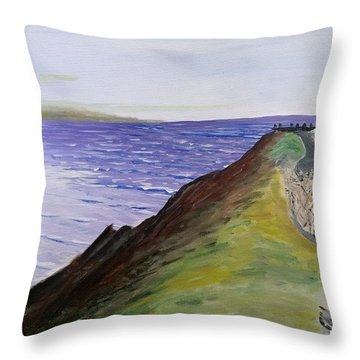 Throw Pillow featuring the painting New Zealand Lighthouse by Kevin Daly