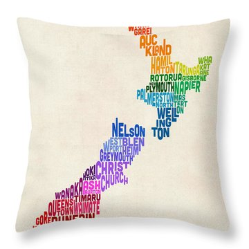 New Zealand Typography Text Map Throw Pillow