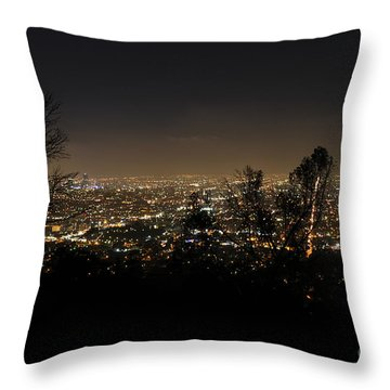 Night At Griffeth Observatory Throw Pillow by Clayton Bruster