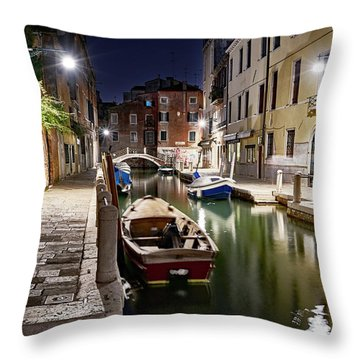 Night Canal Throw Pillow