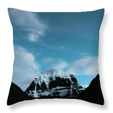 Night Sky Holy Kailas Himalayas Tibet Yantra.lv Throw Pillow