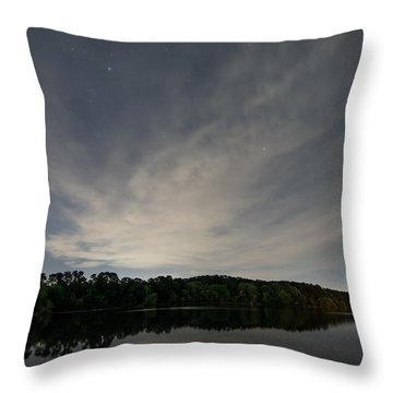 Night Sky Over The Lake Throw Pillow