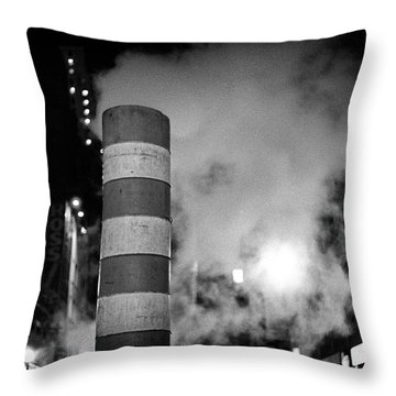 Throw Pillow featuring the photograph Night Steam Nyc by Dave Beckerman