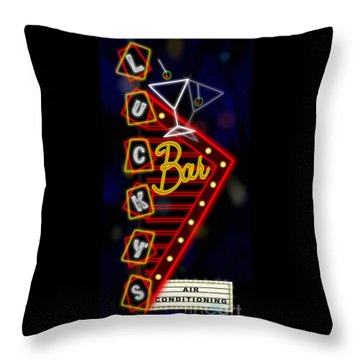 Nightclub Sign Luckys Bar Throw Pillow