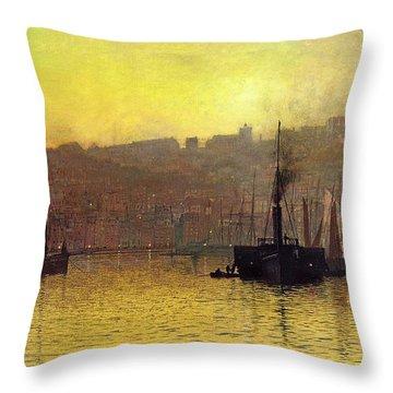 Nightfall In Scarborough Harbour Throw Pillow by John Atkinson Grimshaw
