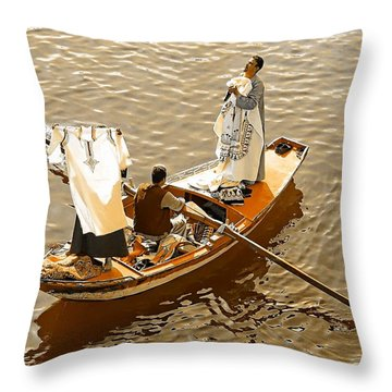 Nile River Merchants Throw Pillow