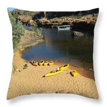 Nitmiluk Gorge Kayaks Throw Pillow