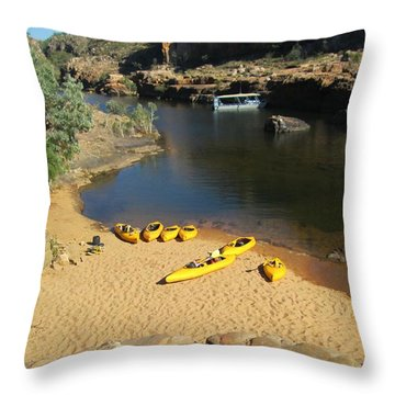 Throw Pillow featuring the photograph Nitmiluk Gorge Kayaks by Tony Mathews