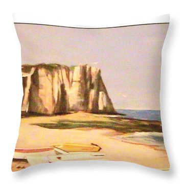 Normandy Beach Throw Pillow