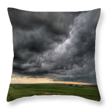 North Dakota Thunderstorm Throw Pillow