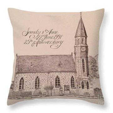 North Parish Church Throw Pillow by Sheep McTavish