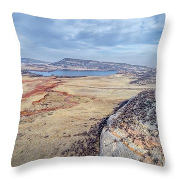 northern Colorado foothills aerial view Throw Pillow