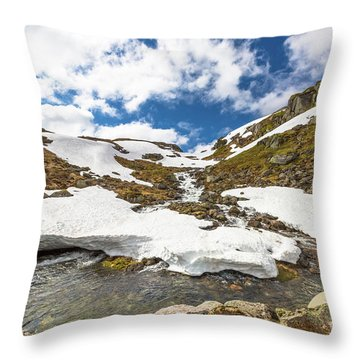 Norway Mountain Landscape Throw Pillow