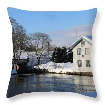 Norwegian Winter Landscape  Throw Pillow