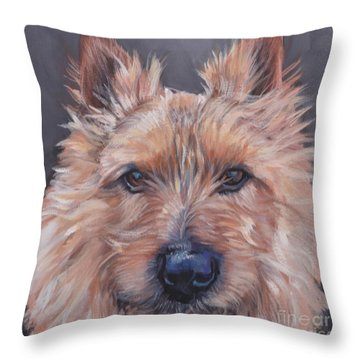 Throw Pillow featuring the painting Norwich Terrier by Lee Ann Shepard