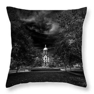 Throw Pillow featuring the photograph Notre Dame University Black White by David Haskett