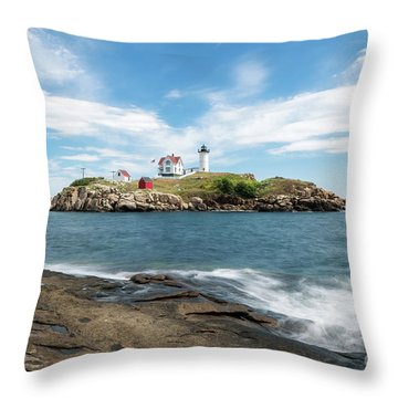 Nubble Lighthouse Throw Pillow