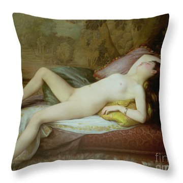 Nude Lying On A Chaise Longue Throw Pillow by Gustave-Henri-Eugene Delhumeau