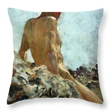 Throw Pillow featuring the painting Nude Study by Henry Scott Tuke