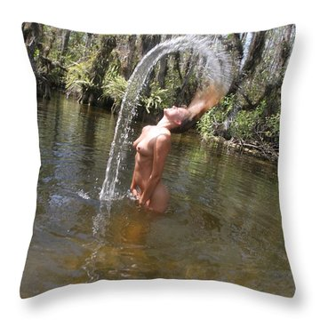 Nude Waterfall Throw Pillow