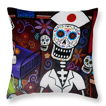 Nurse Dia De Los Muertos  Throw Pillow