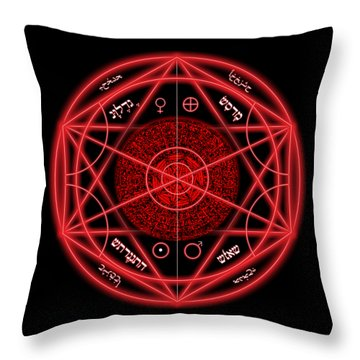 Occult Magick Symbol On Red By Pierre Blanchard Throw Pillow by Pierre Blanchard