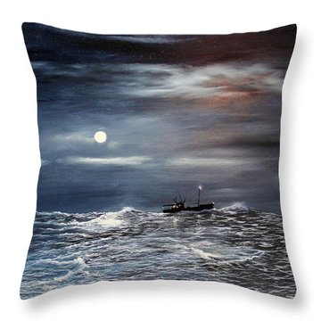 Throw Pillow featuring the painting Ocean Moon by Ken Ahlering