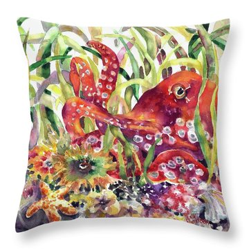 Octopus Garden Throw Pillow