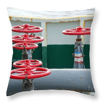 Throw Pillow featuring the photograph Oil Pipeline Control Valves by Yali Shi