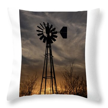 Oklahoma Windmill And Sunset Throw Pillow