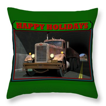 Throw Pillow featuring the digital art Ol' Pete Happy Holidays by Stuart Swartz
