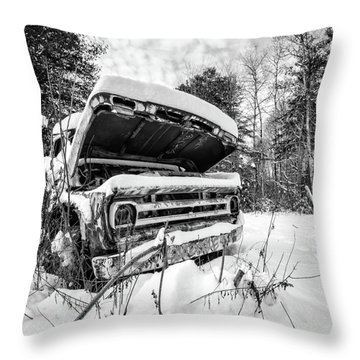 Old Abandoned Pickup Truck In The Snow Throw Pillow