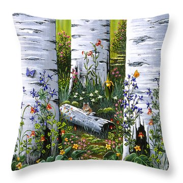 Old Aspen Grove Throw Pillow