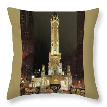 Old Chicago Water Tower Throw Pillow