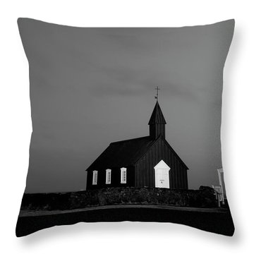 Old Countryside Church In Iceland Throw Pillow