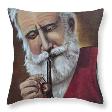 Old German With Pipe Throw Pillow