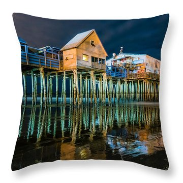 Old Orchard Dock Night Reflection Throw Pillow