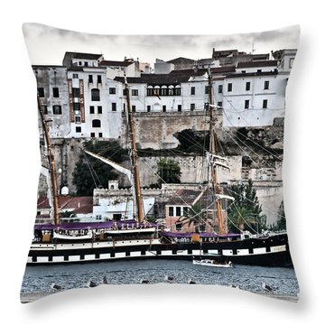 Old Port Mahon And Italian Sail Training Vessel Palinuro Hdr Throw Pillow