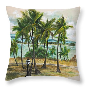 Old San Juan - Morro Throw Pillow by George Bloise