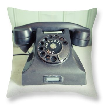 Old Telephone Square Throw Pillow