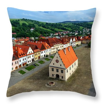 Old Town Square In Bardejov, Slovakia Throw Pillow