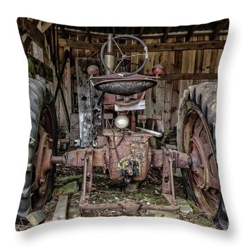 Old Tractor In The Barn Throw Pillow