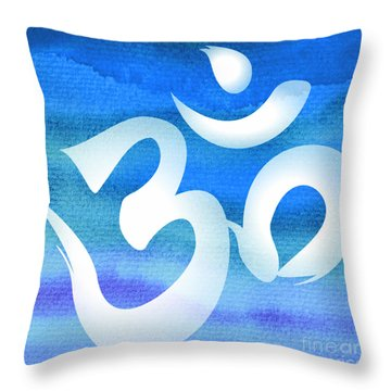 Om Symbol. Blue And White Throw Pillow