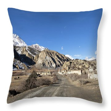 On The Annapurna Circuit Trekking Near Manang In Nepal Throw Pillow