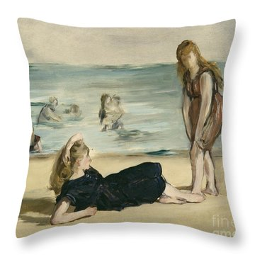 On The Beach Throw Pillow by Edouard Manet